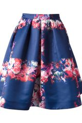 MSGM Pleated Floral Print Skirt - Lyst