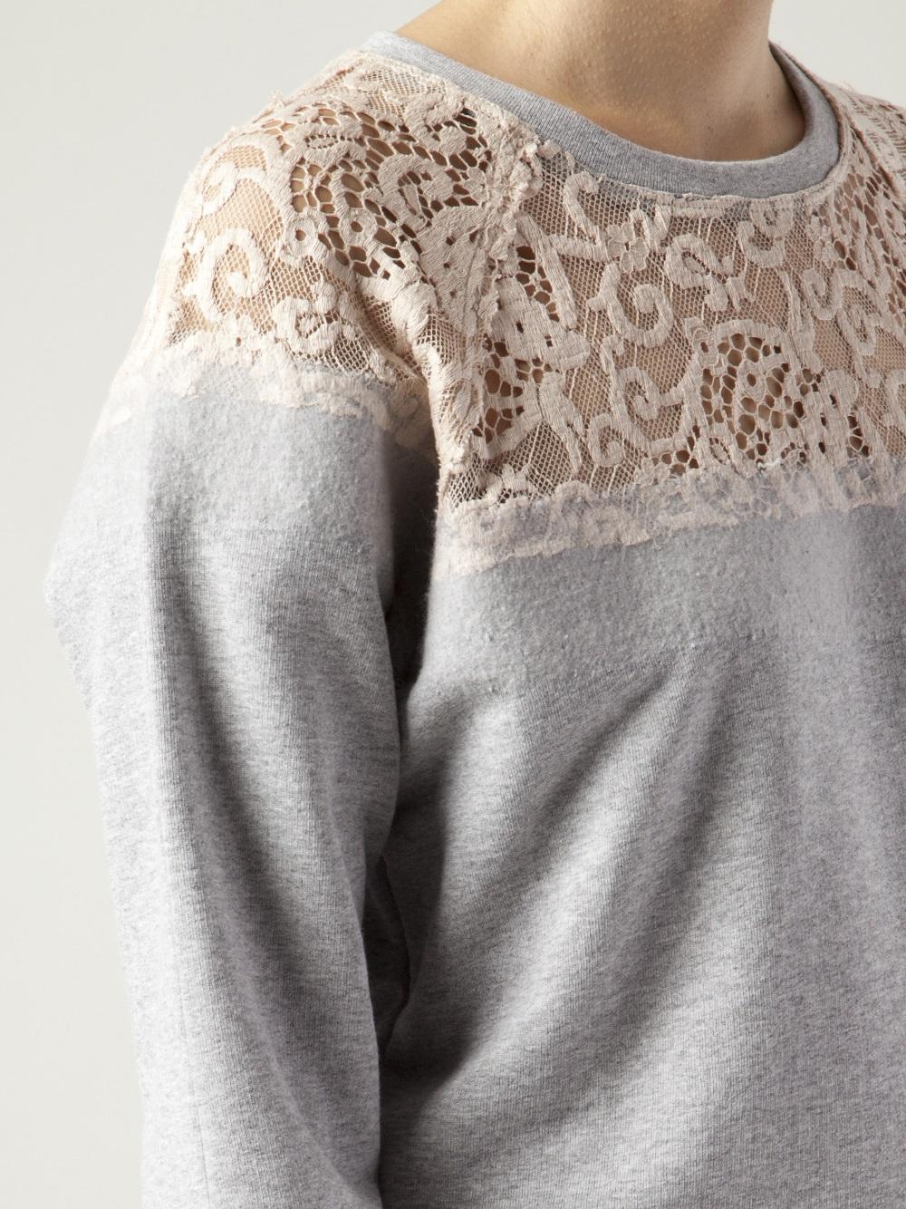 1d164f70c8 Lyst - MSGM Lace Sweatshirt in Gray