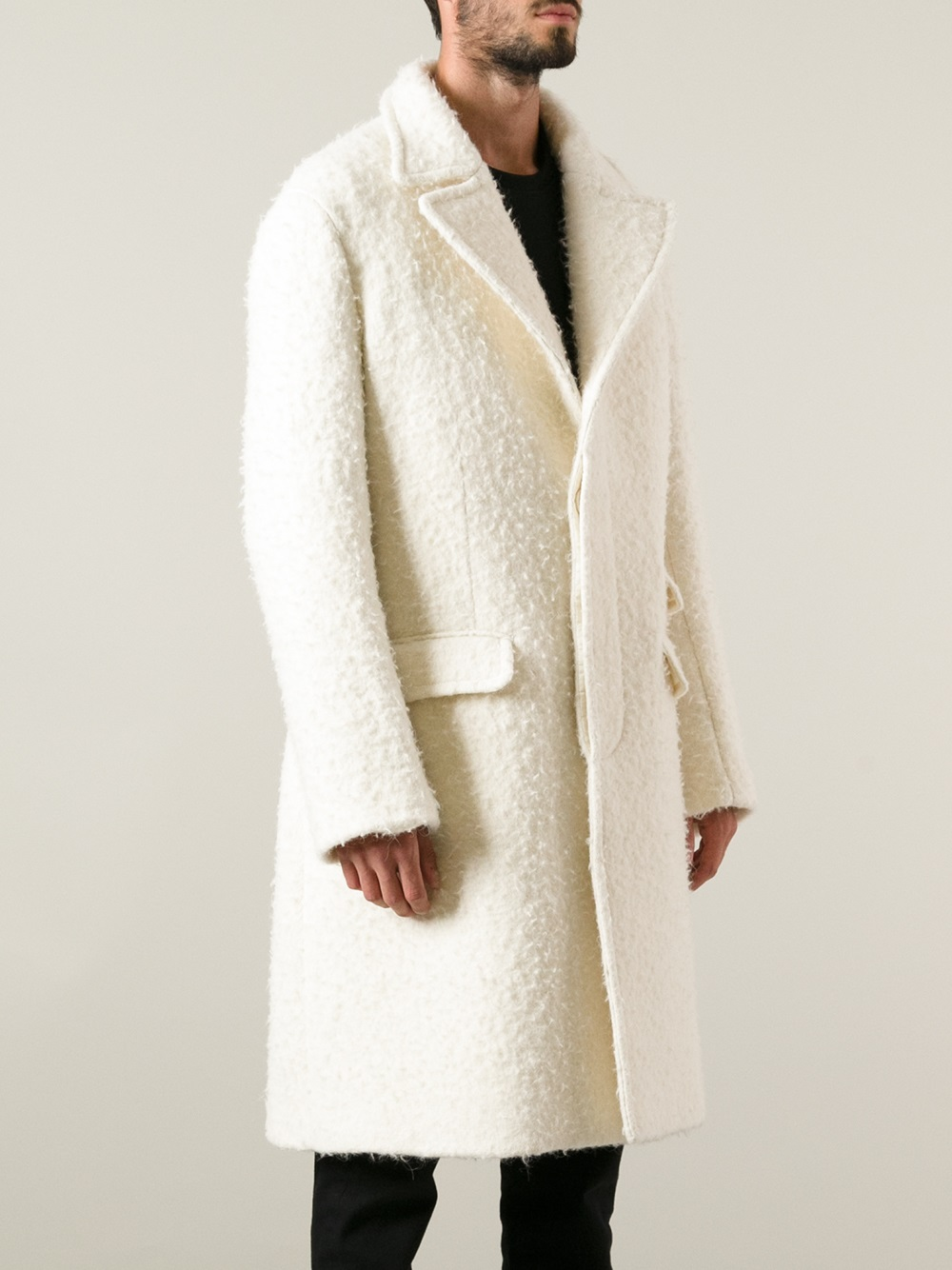 Lyst Neil Barrett Single Breasted Overcoat In White For Men
