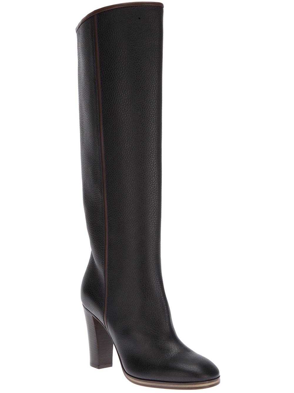 pollini knee high boot in brown lyst
