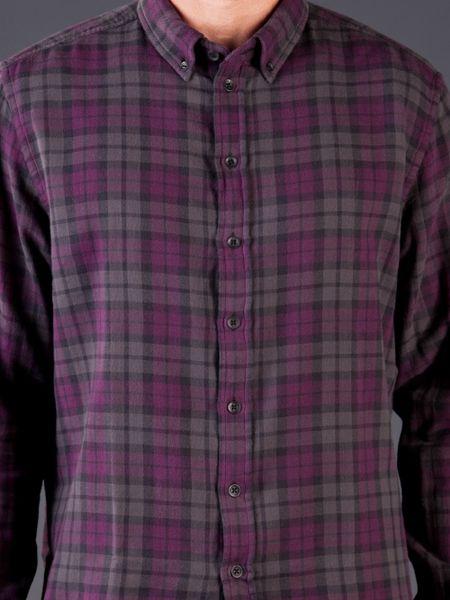 Rag Bone Flannel Shirt In Purple For Men Pink Purple