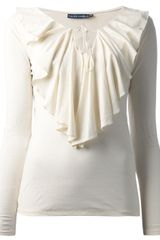 Ralph Lauren Long Sleeve Ruffle Top - Lyst