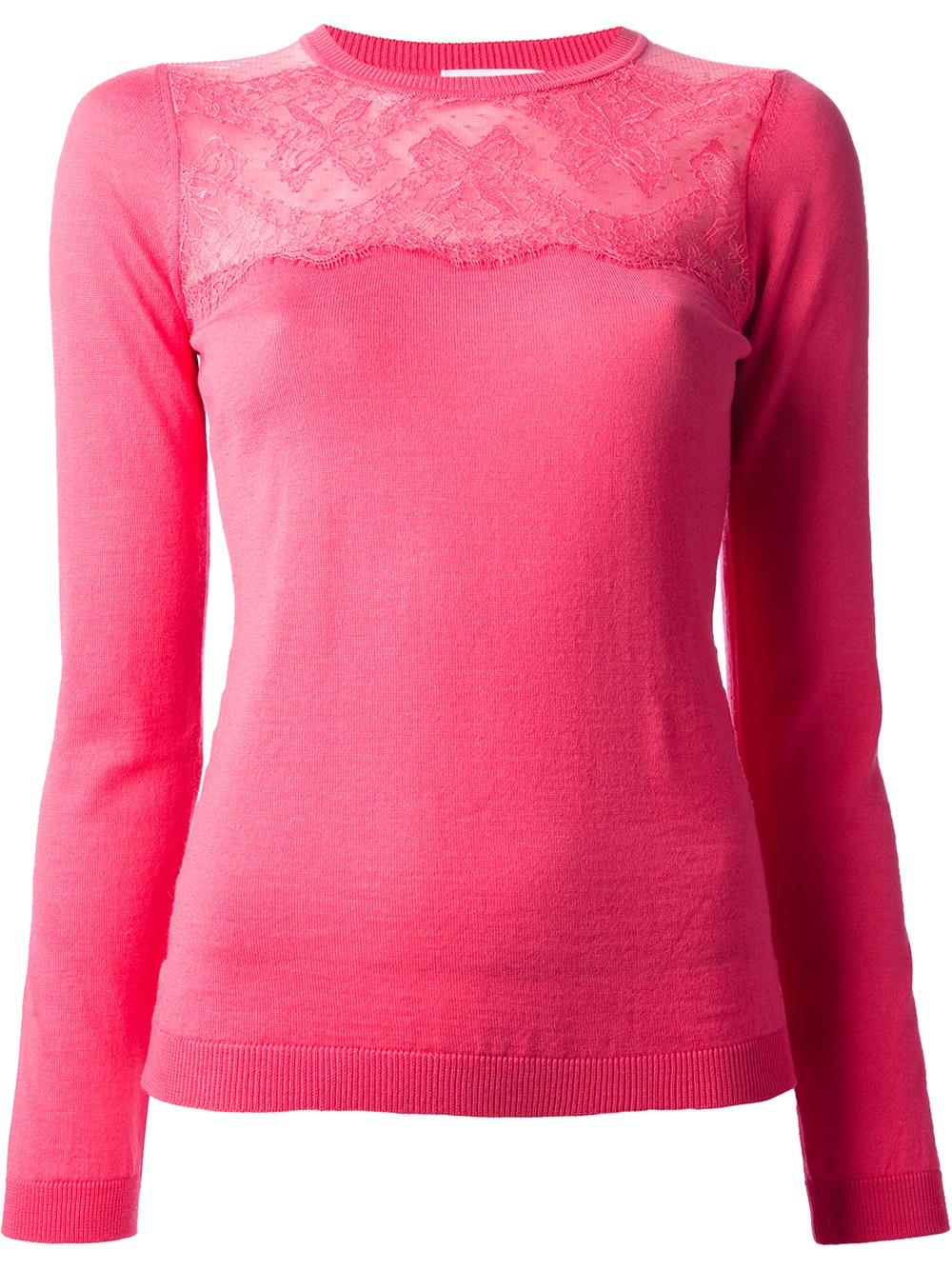 Red valentino Floral Lace Sweater in Pink | Lyst