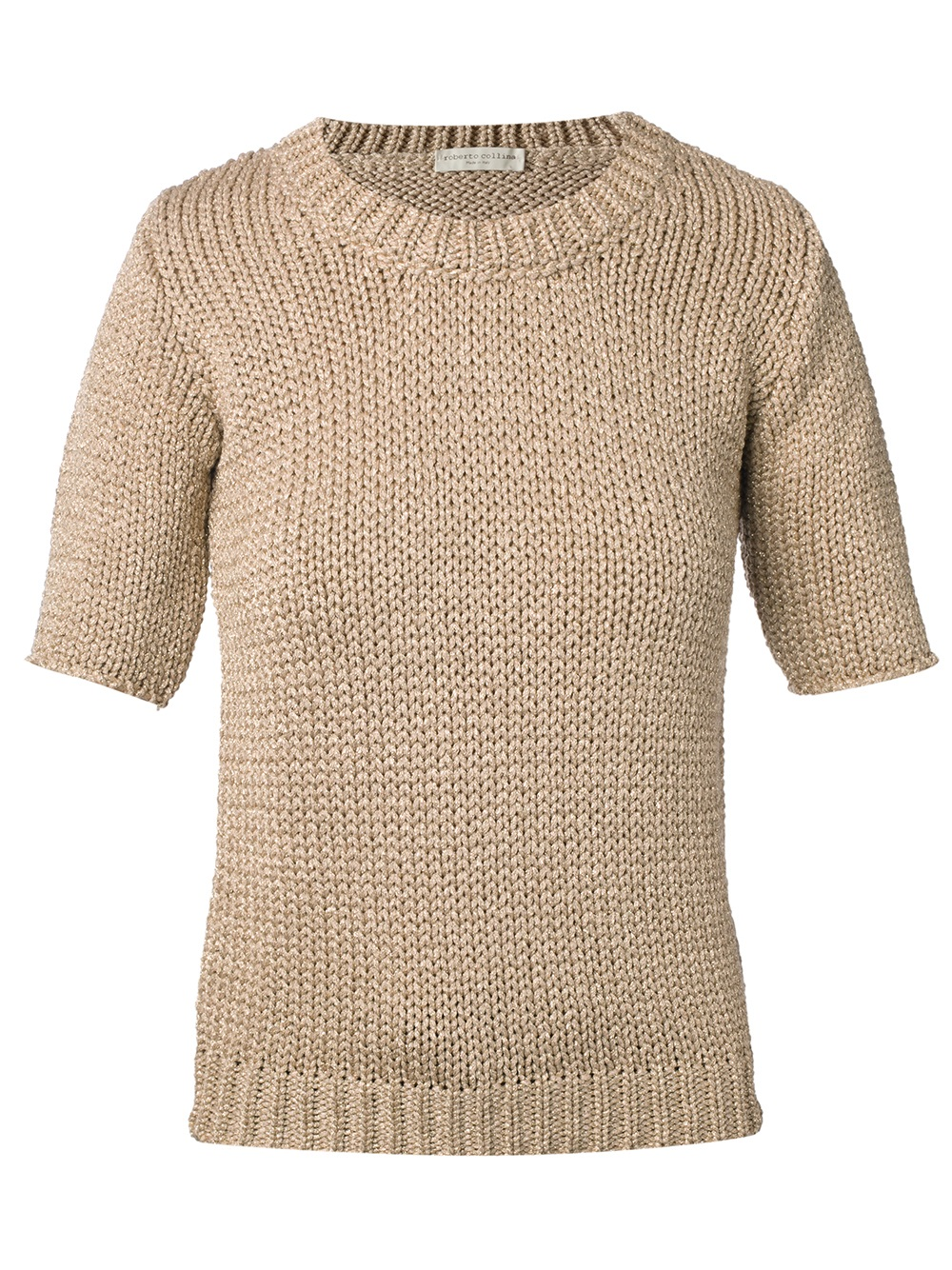 Roberto collina Short Sleeve Sweater in Natural | Lyst