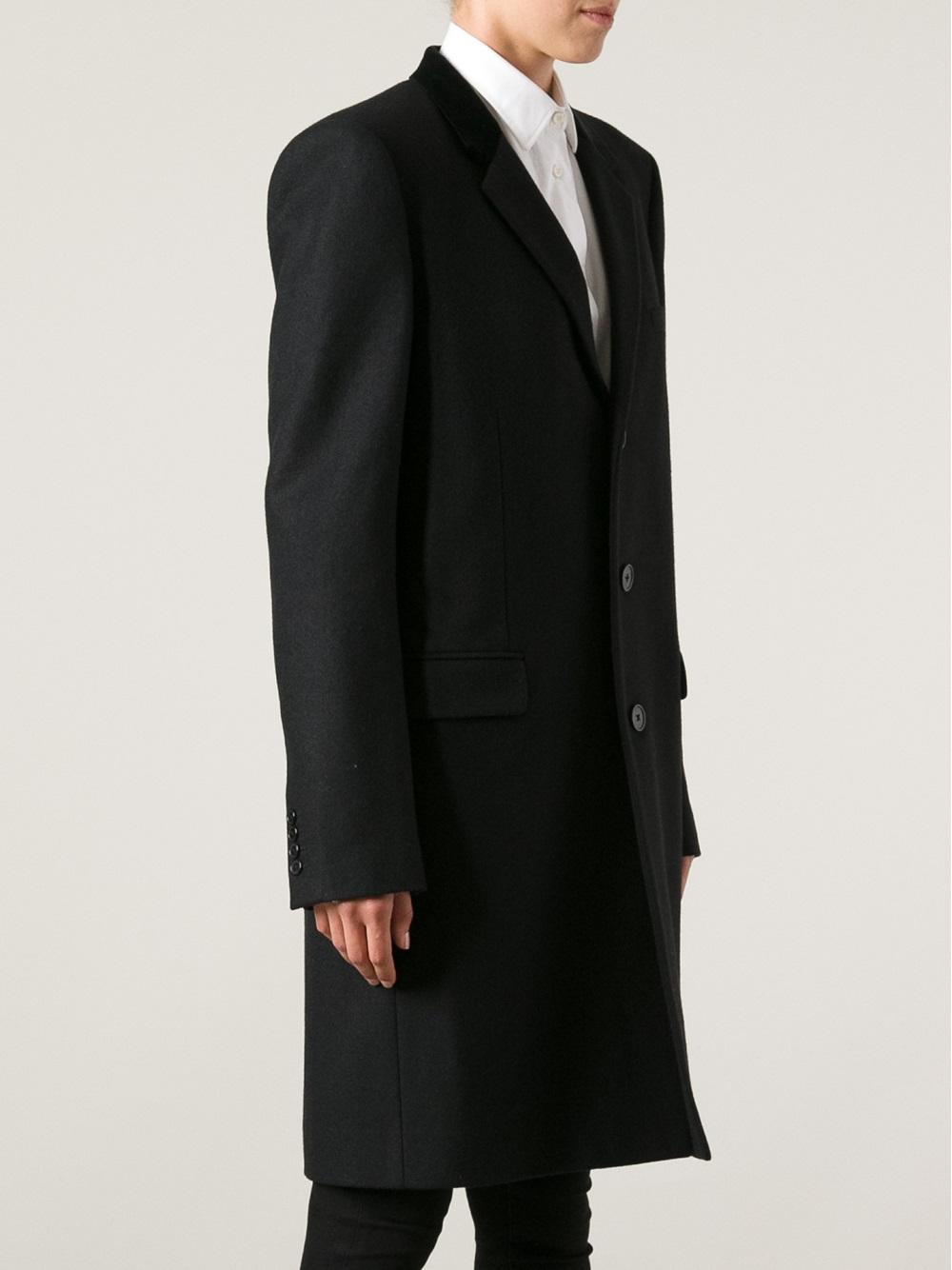 71678bda213 Saint Laurent Single Breasted Coat in Black for Men - Lyst