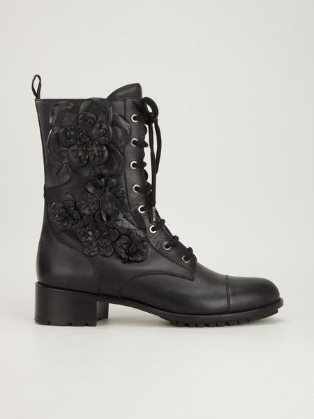 Valentino Floral Lace Up Ankle Boot In Black Lyst