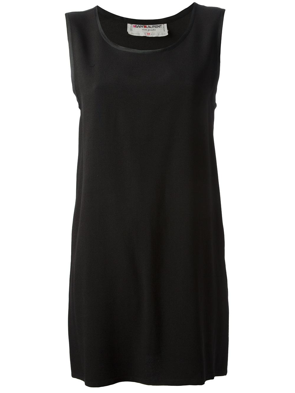 Yves Saint Laurent Vintage Sleeveless Shift Dress In Black