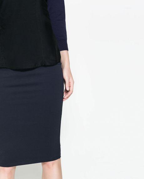 Zara Navy Blue Dress With Pencil Skirt 106