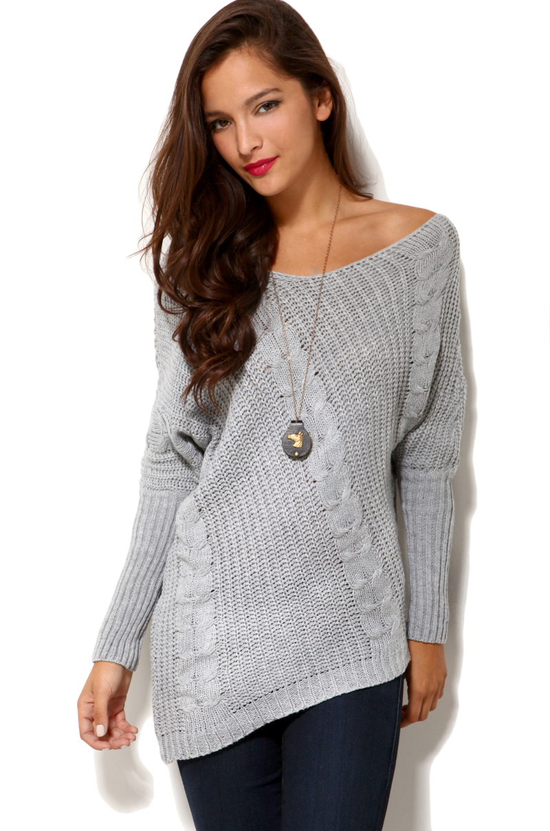 Sweater Knit : Lyst akira off shoulder cable knit sweater in grey gray
