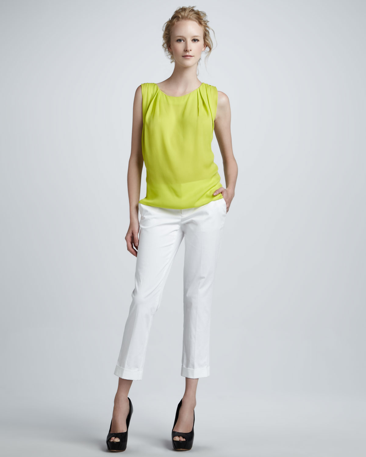 Alice   olivia Stacey Slim Cropped Pants in Yellow | Lyst