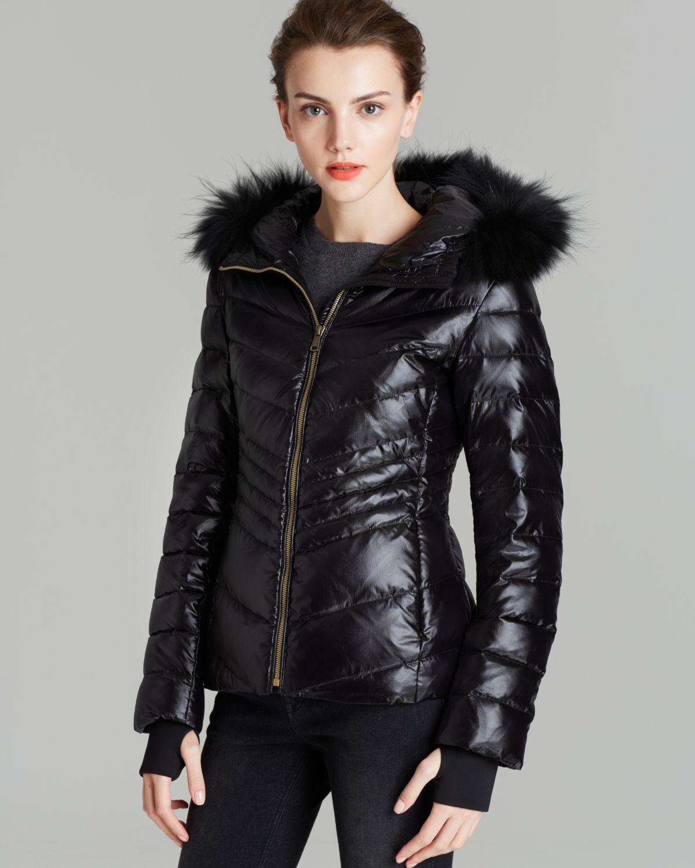 Andrew marc Down Coat Fur Trim Hood in Black | Lyst