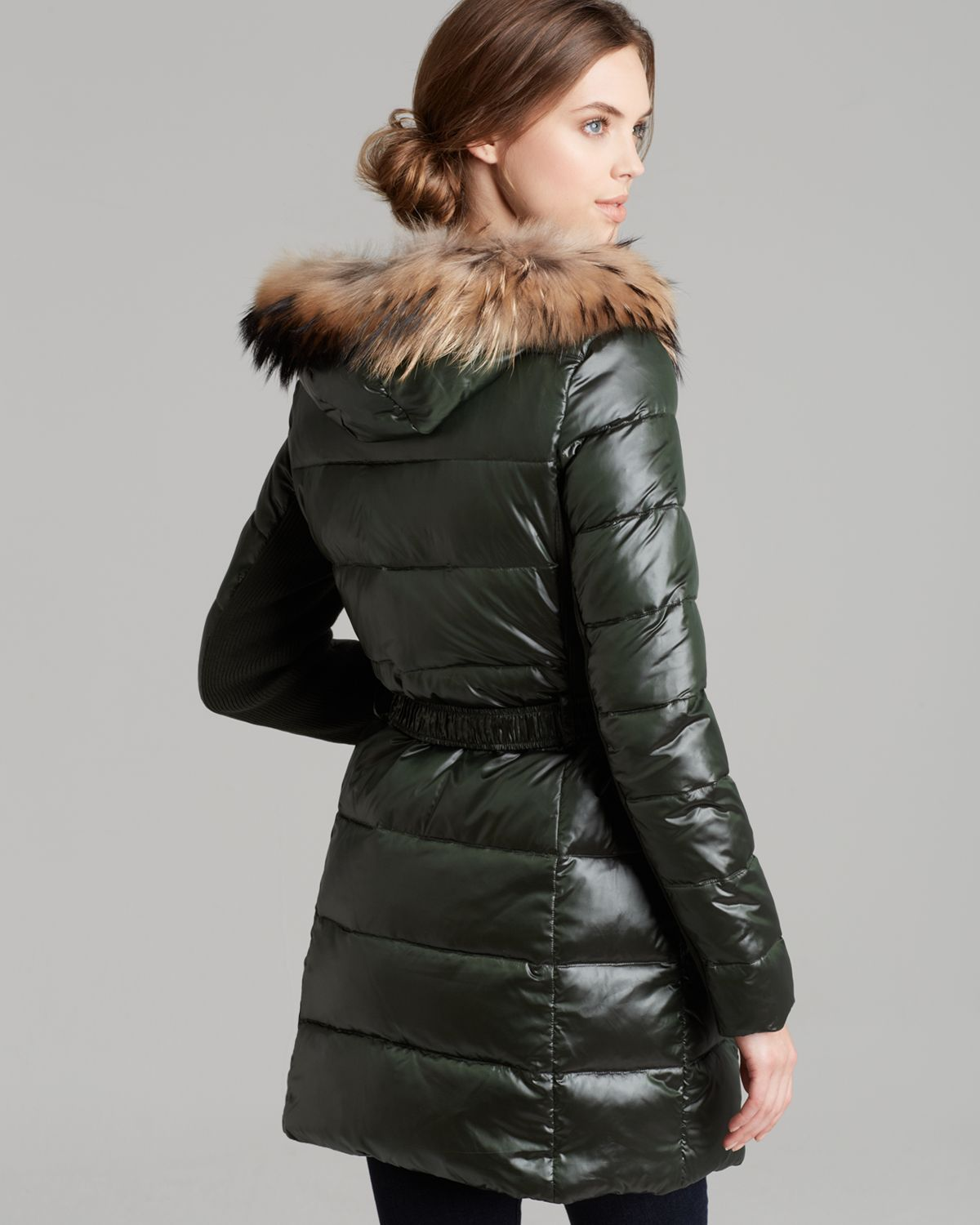 Bcbgmaxazria Down Coat Belted Fur Trim Hood in Green | Lyst