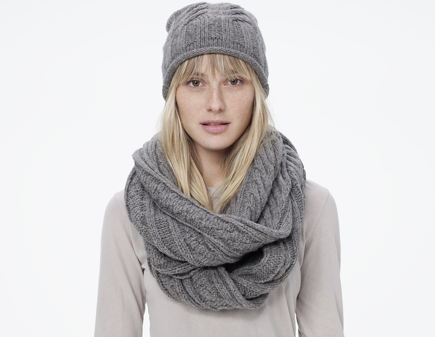 Cable Knit Infinity Scarf Knitting Pattern : James Perse Cable Knit Infinity Scarf in Gray (Stonehenge ...