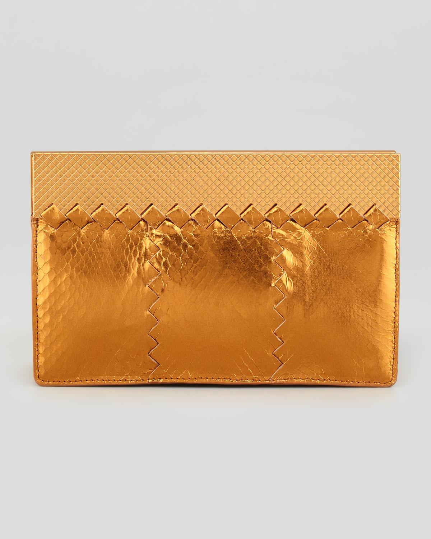 974e052dd1 Lyst - Bottega Veneta Metallic Snake Wallet Clutch Bag in Orange