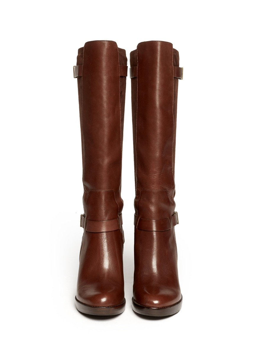 cole haan fulton leather wedge boots in brown lyst