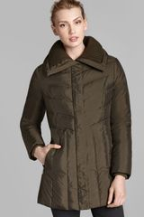 Cole Haan Down Coat Chevron Quilted - Lyst