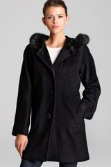 Ellen Tracy Coat Fox Fur Trimmed Hood - Lyst