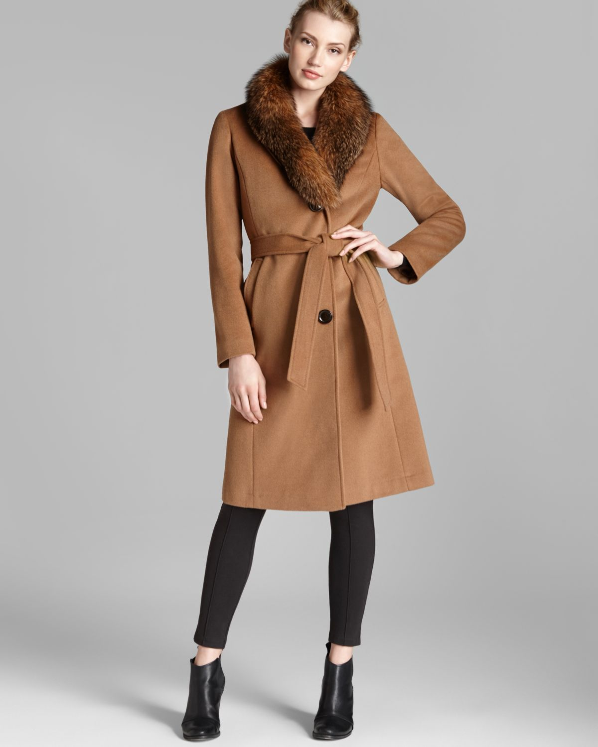 Ellen tracy Coat Fox Fur Collar Belted in Brown | Lyst