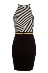 Jane Norman Stripe Halter Neck Dress