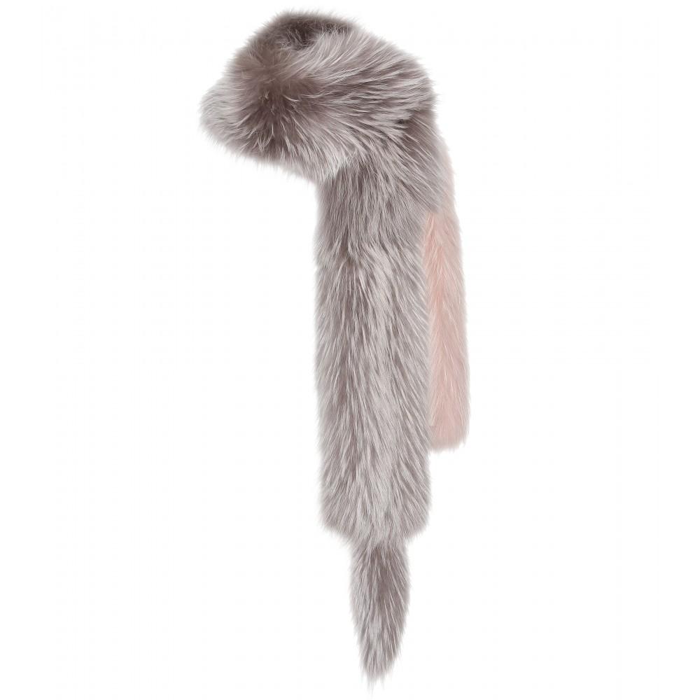 Lanvin Raccoon Fur Scarf in Gray