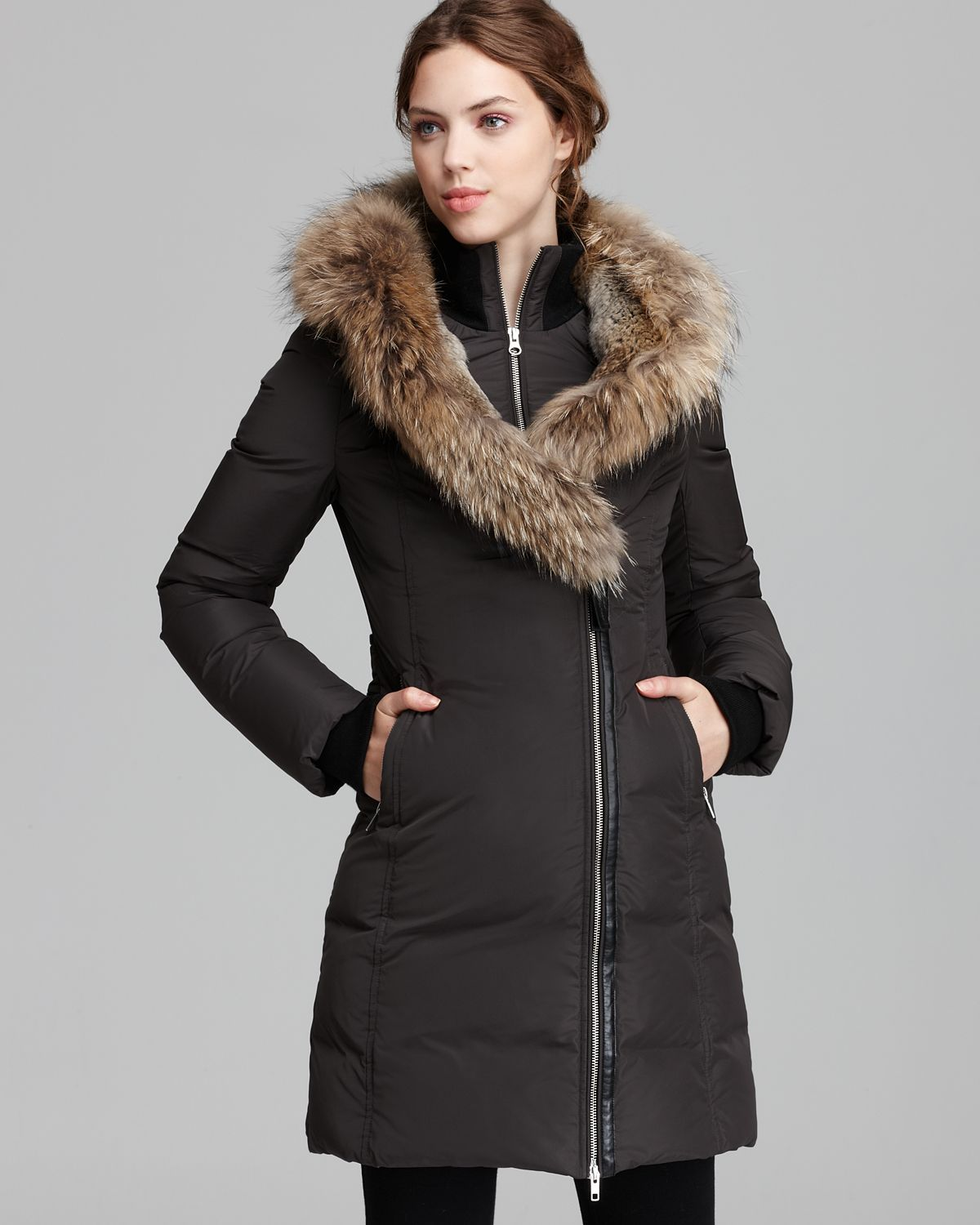 Mackage Down Coat Trish Lavish Fur Trim Hood in Green | Lyst