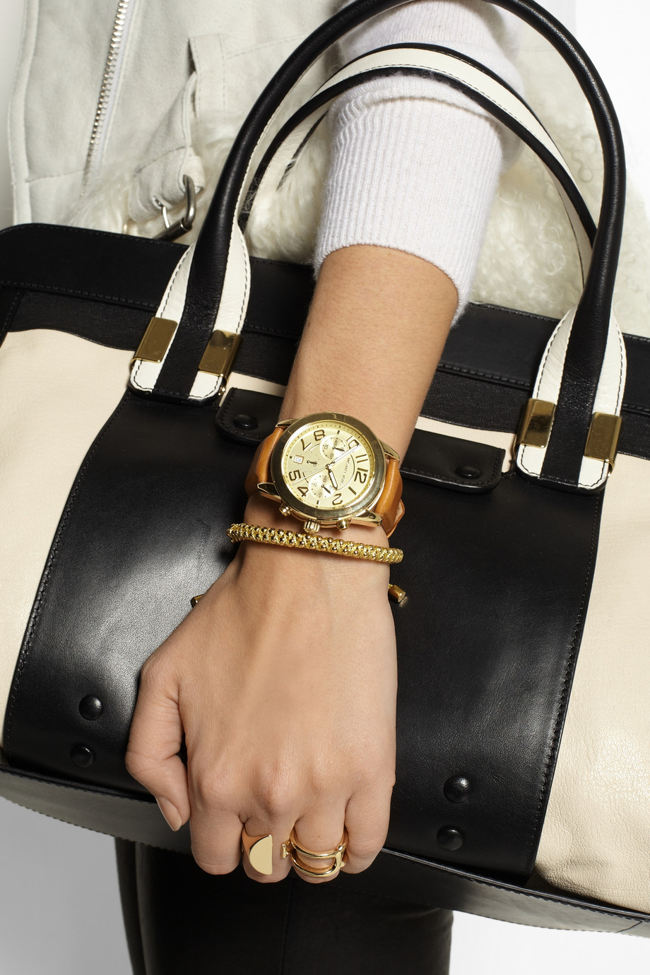 3e484f329 Michael Kors Mercer Goldtone and Leather Chronograph Watch in Brown ...