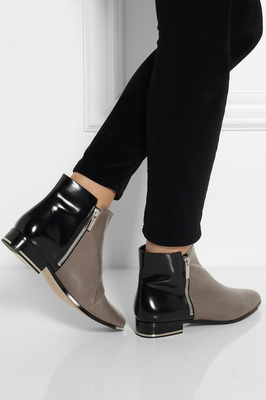 Lyst Michael Kors Cindra Twotone Leather Ankle Boots In Gray