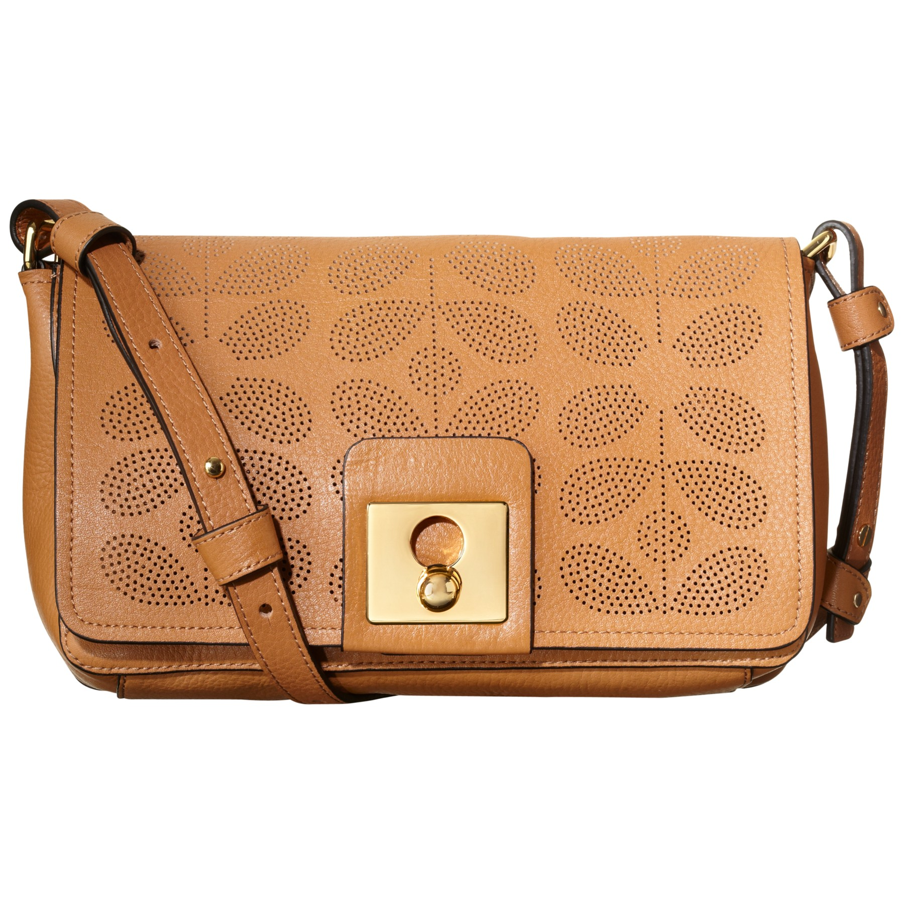 911bbf8c76 Orla Kiely Sixties Stem Punched Leather Robin Bag in Brown - Lyst