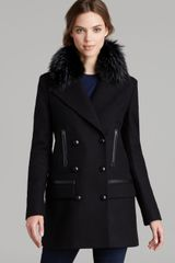 Sam. Coat Boyfriend Fur Collar - Lyst