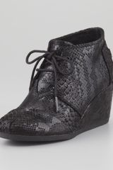 Toms Serpentine Desert Wedge Bootie Black - Lyst