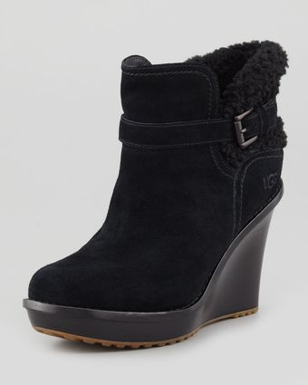 Ugg Anais Shearling Wedge Boot Black - Lyst
