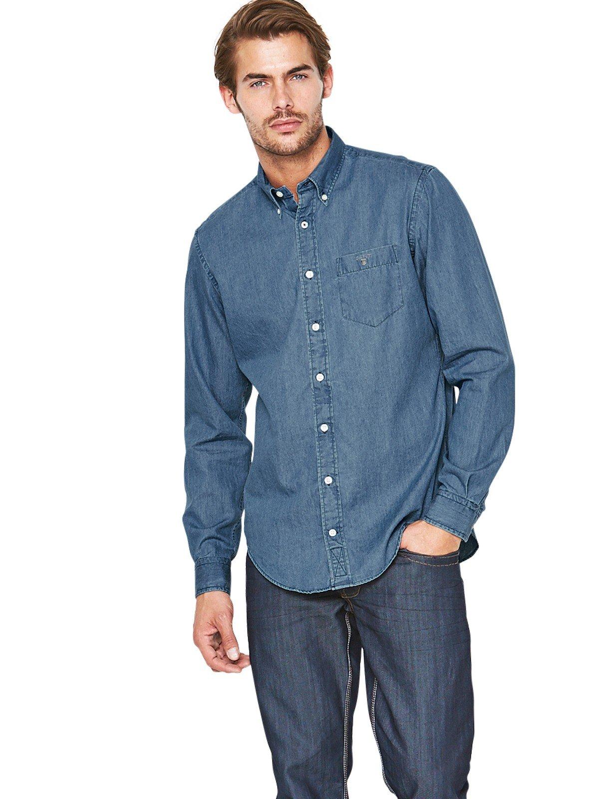 Gant Gant Denim Mens Long Sleeve Shirt In Blue For Men