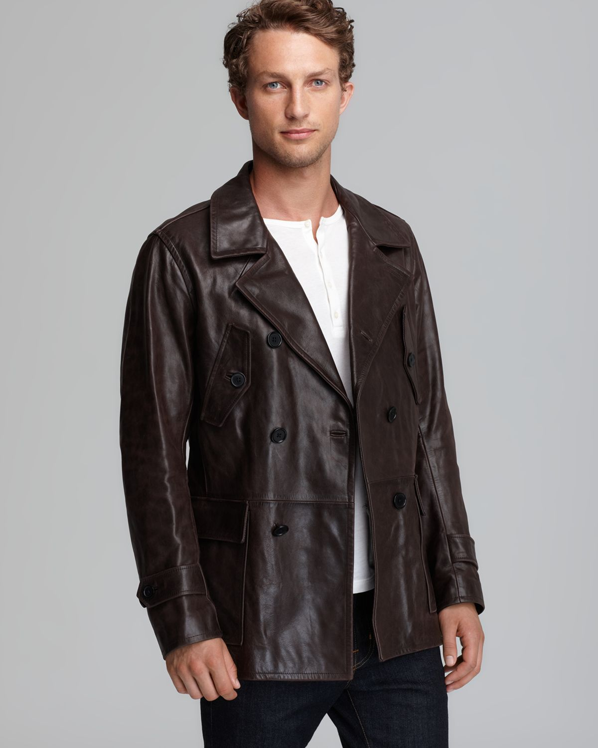 Vince Doublebreasted Leather Car Coat in Brown for Men | Lyst