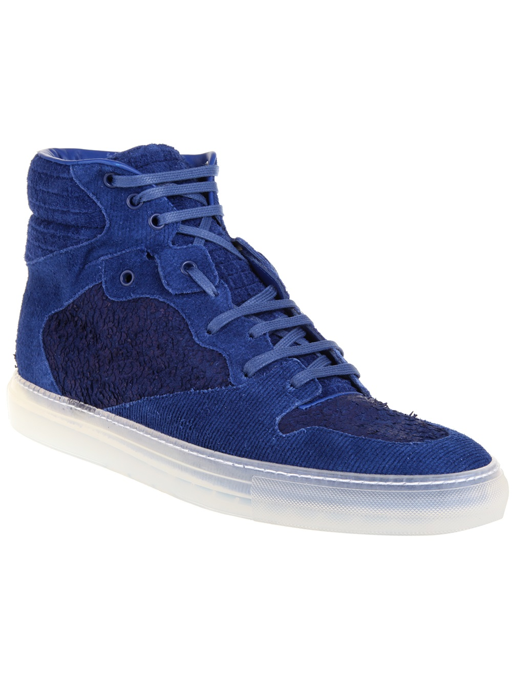 balenciaga corduroy hitop sneakers in blue for men lyst. Black Bedroom Furniture Sets. Home Design Ideas