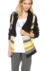 Cut25 By Yigal Azrouël Fair Isle Chunky Drape Front Cardigan - Lyst