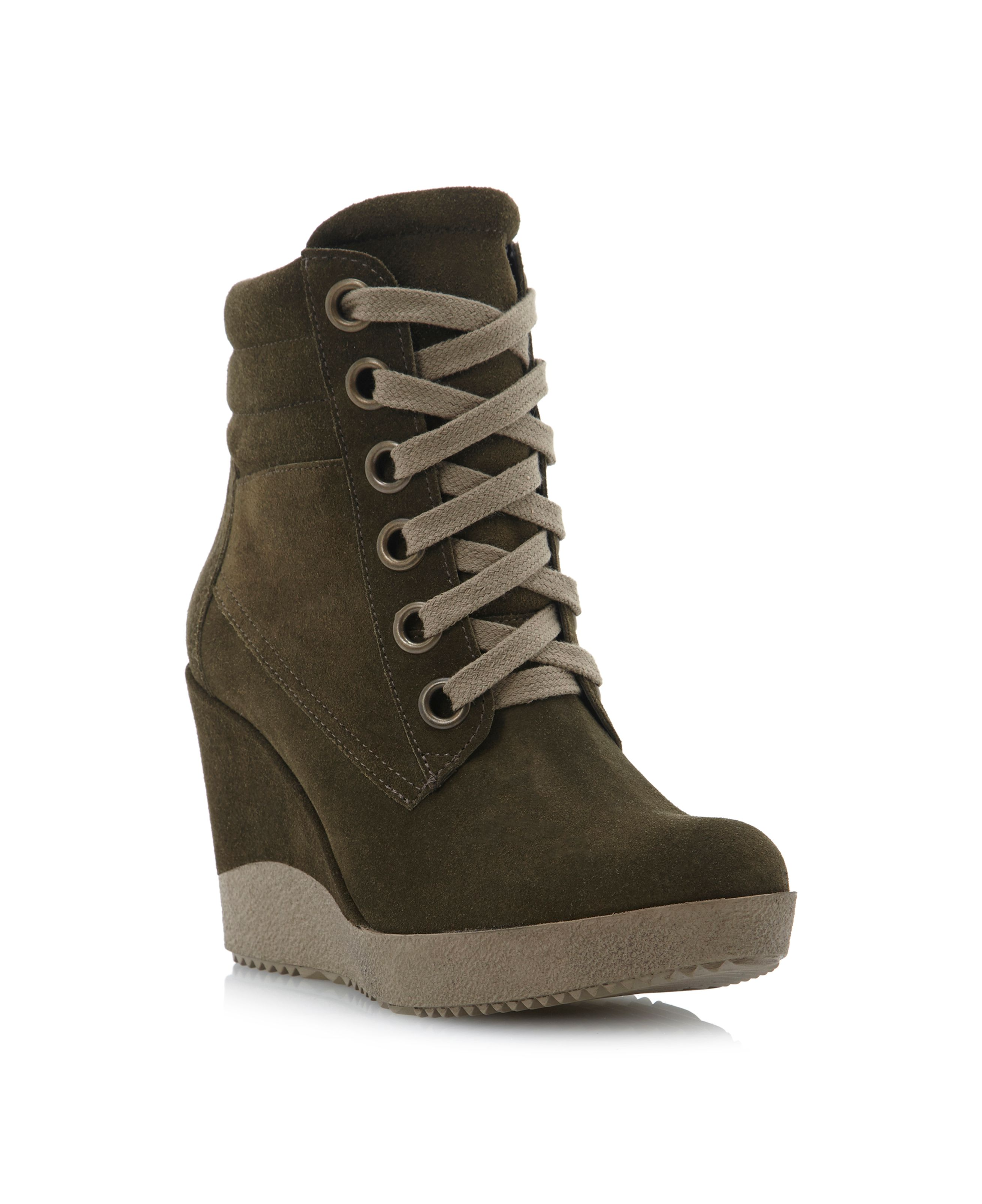 dune plaster high top lace up wedge boots in green lyst