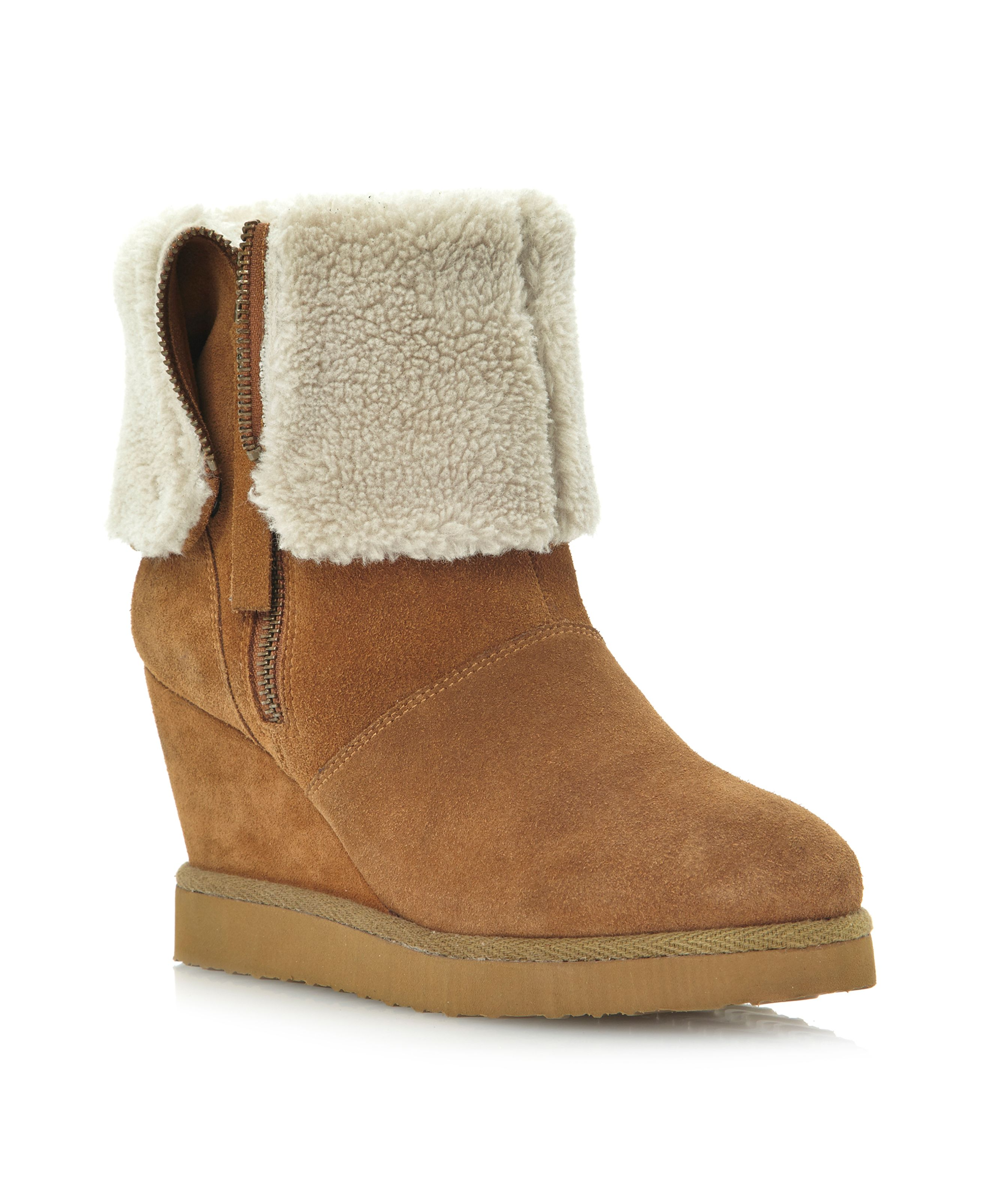 dune reach side zipfold wedge boots in brown lyst