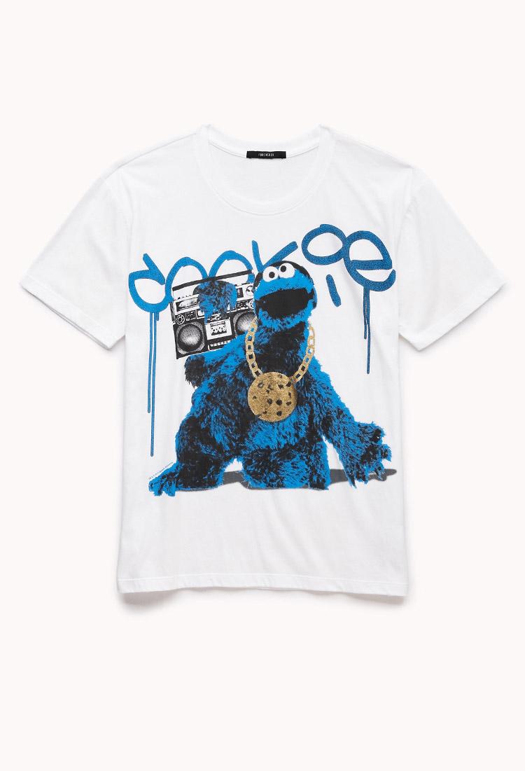Lyst Forever 21 Gangsta Cookie Monster Tee In White