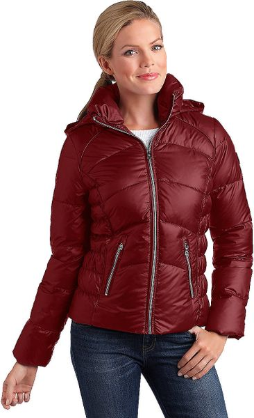 Guess Hooded Puffer Jacket In Red Lyst