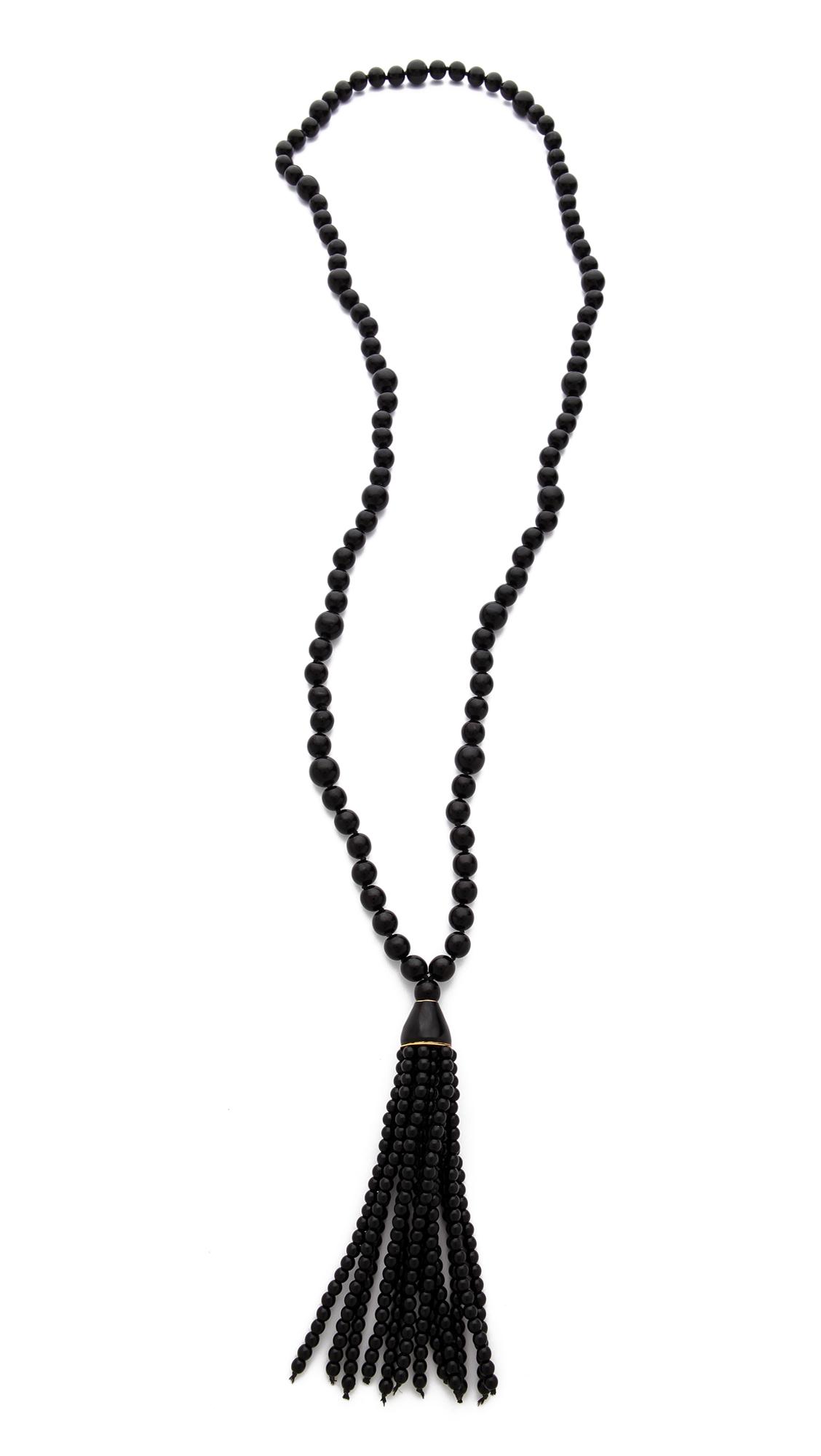 Lyst Kenneth Jay Lane Beaded Tassel Necklace In Black