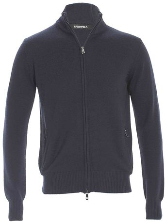 Lagerfeld Knitted Full Zip Jacket Navy - Lyst