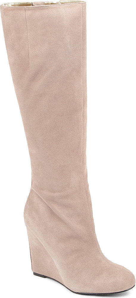 nine west ravvyn suede knee high wedge boots in beige
