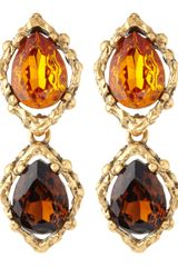 Oscar de la Renta Gold and Smoky Topaz Earrings - Lyst