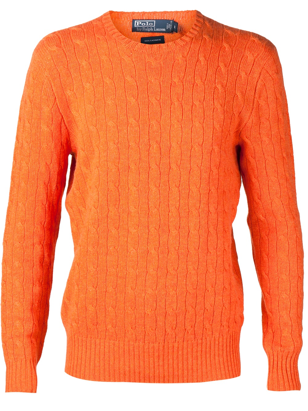 Lyst Polo Ralph Lauren Cashmere Cable Knit Sweater In Orange For Men
