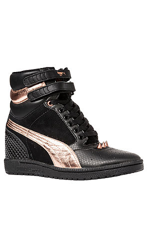 5d00be5fc7 Lyst - PUMA The Rosegold Sky Wedge Studded Sneaker in Black