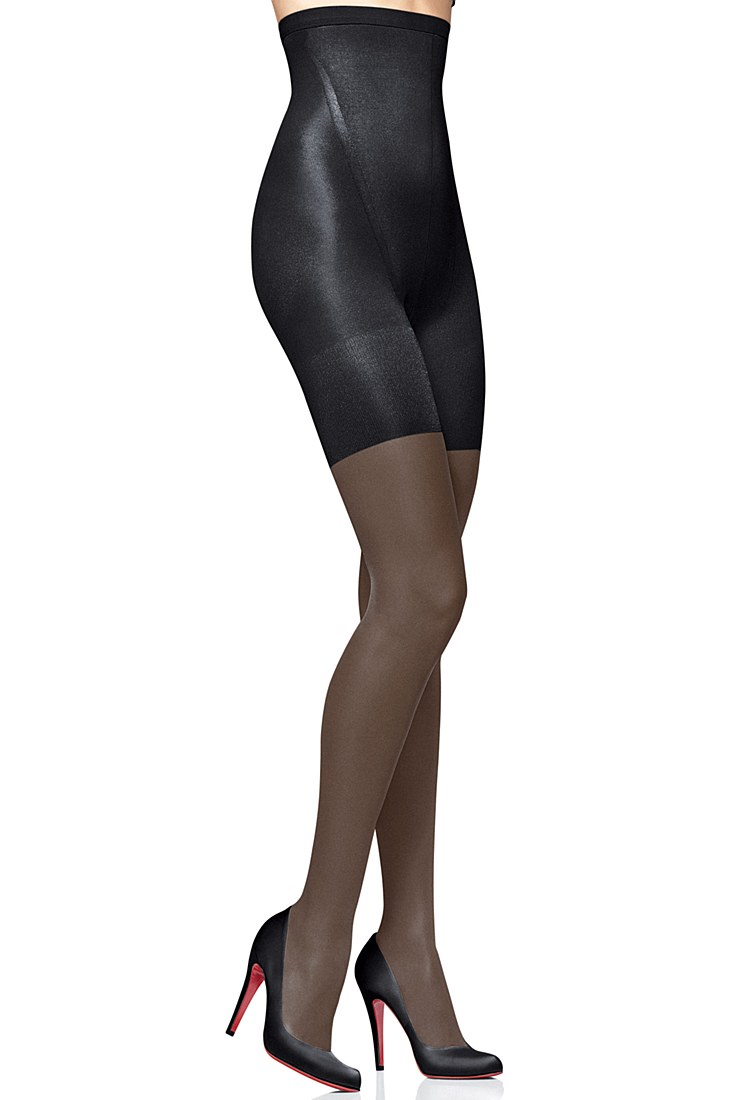 spanx super high waisted shaping sheer tights black in