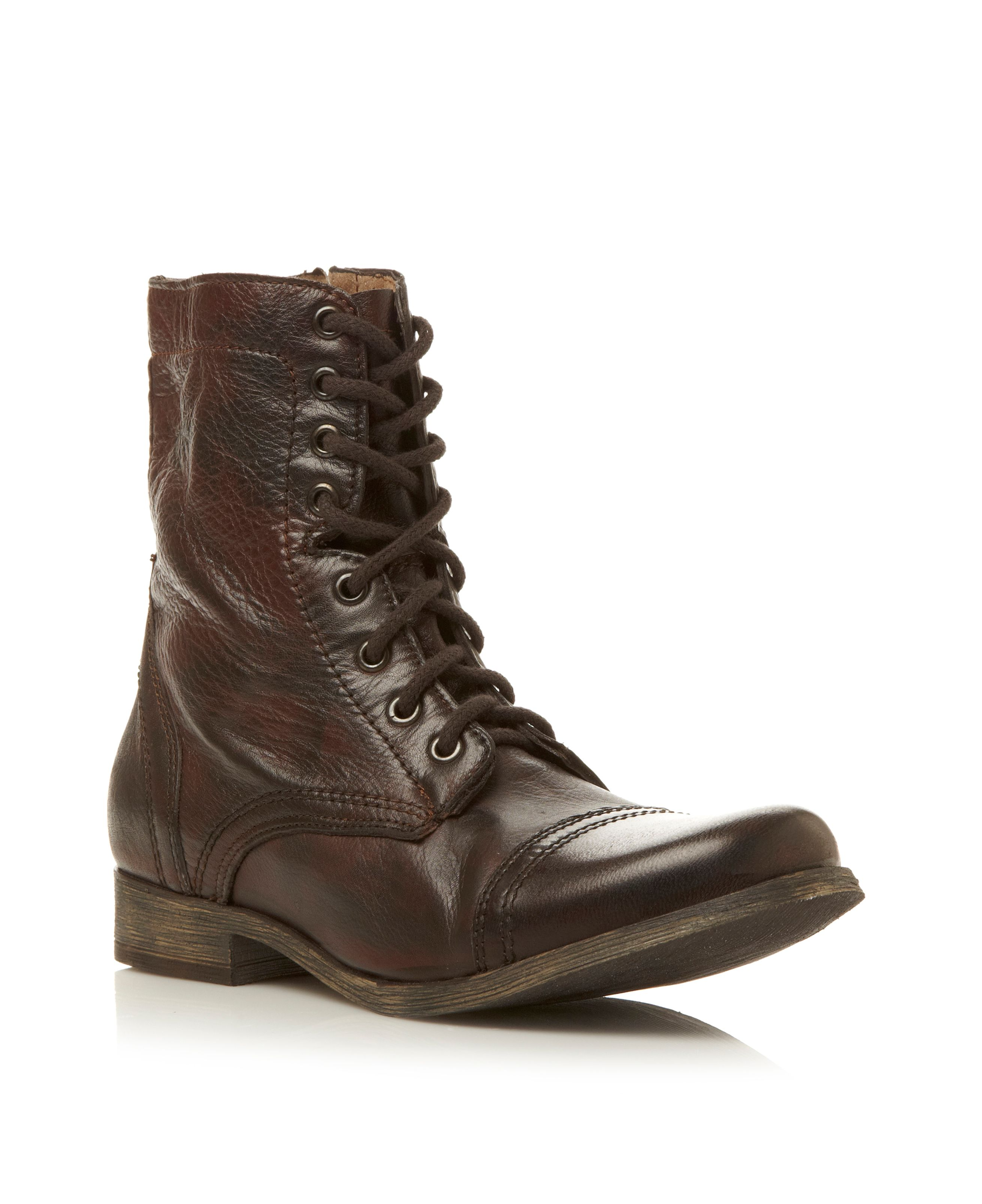 steve madden trooper toecap lace casual boot in brown for