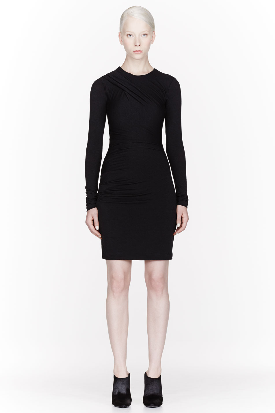 t by alexander wang black jersey long sleeve draped dress. Black Bedroom Furniture Sets. Home Design Ideas