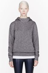 T By Alexander Wang Grey Fleecy Top Dyed Hooded Sweater - Lyst