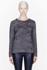 T By Alexander Wang Grey Wool Blend Slub Knit Pullover - Lyst